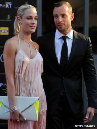 Oscar Pistorius and Reeva Steenkamp at the Feather Awards on November 4, 2012 in Johannesburg, South Africa