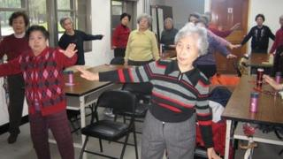 Elderly people exercising at a community centre in Taiwan