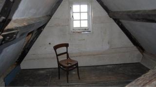 Attic room at Wymering Manor