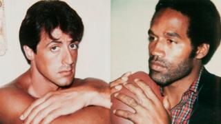 Sylvester Stallone and OJ Simpson by Andy Warhol