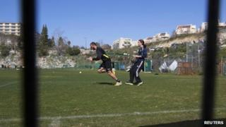 Chechen Muslim soccer player Zaur Sadayev practises during a Beitar Jerusalem training session in Jerusalem on 8 February 2013