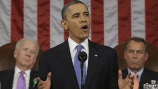 Barack Obama delivering his State of the Union address