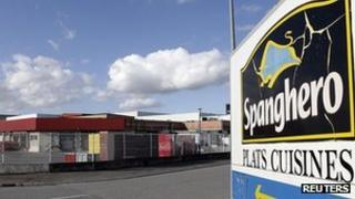 Sign with the Spanghero logo is seen at their head office in Castelnaudary