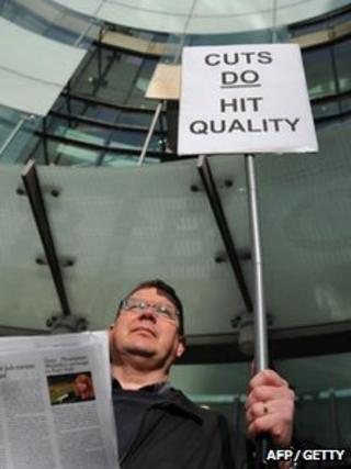Strikers outside the BBC headquarters
