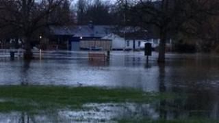 A bench in a flooded field