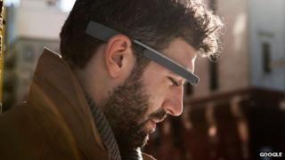 A man wearing Google Glass