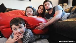 The Lorey family with the giant bean bag