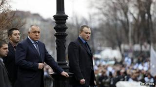 PM Boiko Borisov outside Bulgaria's parliament after his resignation