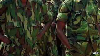 Rwandan soldiers - Archive shot, Kigali 2000