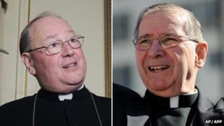 Combination picture of Cardinals Timothy Dolan and Roger Mahony