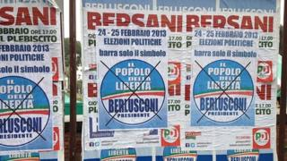 Election campaign posters in Naples