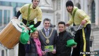 Lord Mayor Gavin Robinson (centre) at launch of St Patrick festival programme