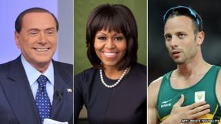 Combination picture of Silvio Berlusconi (left), Michelle Obama (centre) and Oscar Pistorius
