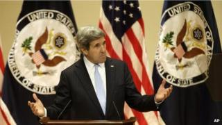 US Secretary of State John Kerry delivering his first foreign policy speech, University of Virginia (20 Feb)