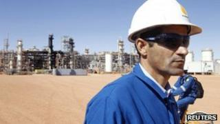 A British worker is seen at the Tigantourine gas plant in In Amenas, 1,600 km (1,000 miles) south-east of Algiers, on 31 January 2013
