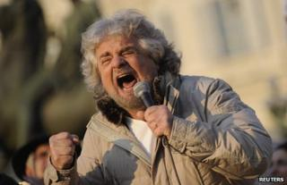 Beppe Grillo at a rally in Turin, Italy, 16 February 2013