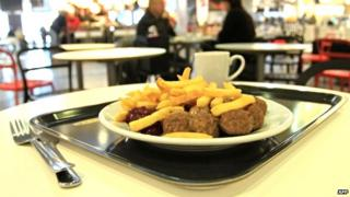 A plate of meatballs in an Ikea store