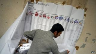 Workers remove electoral information banners in Rome