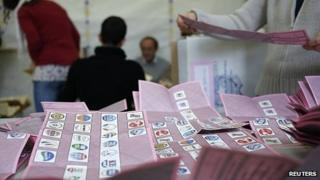 Ballots in a polling station in Rome. 25 Feb 2012