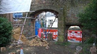 Repair work on Blanc Bois Archway