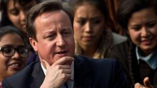 David Cameron with Indian students