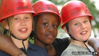 Guides in climbing helmets