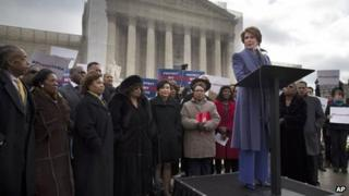Nancy Pelosi speaks at a rally outside the US Supreme Court in Washington, DC 27 February 2013