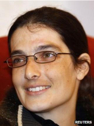 Swiss teacher Sylvia Abrahat, freed in Yemen, at Doha International Airport, 28 February