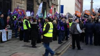 People protesting outside Hull Guildhall