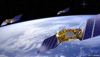 GPS satellites over Earth