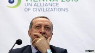 Turkey's Prime Minister Tayyip Erdogan at the UN Alliance of Civilisations Forum in Vienna on 27/2/13