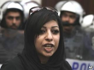 Zainab al-Khawaja at a protest in Manama (18 April 2012)