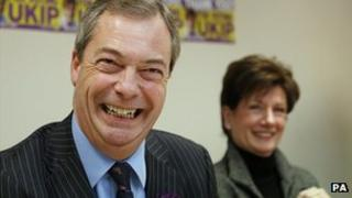 Nigel Farage at a press conference with UKIP's candidate Diane James