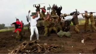 Frame from YouTube video of Israeli soldiers performing the Harlem Shake