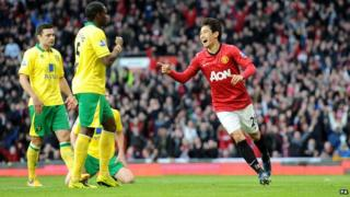 Manchester United's Shinji Kagawa celebrates scoring his teams second goal.