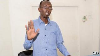 Abdiaziz Abdinur Ibrahim in court in Mogadishu (3 March 2013)