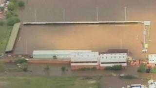 Meadow Park, home of Gloucester City FC, was ruined by flooding in 2007