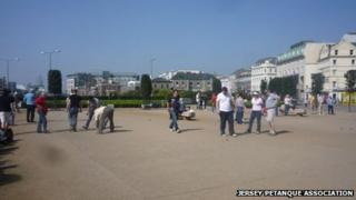 Petanque players at Weighbridge Place, St Helier