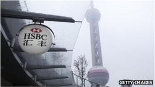 HSBC branch sign in Shanghai
