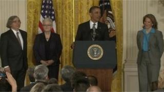 From left: Ernest Moniz, Gina McCarthy, Barack Obama and Sylvia Mathews Burwell at a White House ceremony in Washington DC 4 March 2013