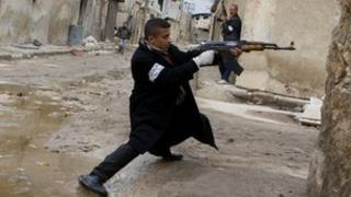 Syrian opposition fighter in Aleppo