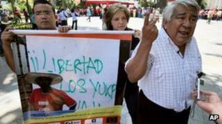 Indigenous rights activist protests against killing of Sabino Romero