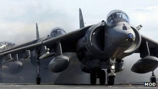 A Harrier jump jet at RAF Cottesmore