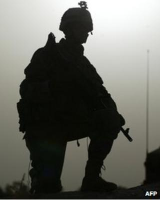 Silhouette of US soldier in Baghdad, Iraq file picture