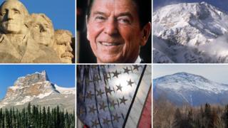 Mount Rushmore, Ronald Reagan, Mount McKinley, the Presidential Range, US flag, Castle Mountain (formerly Mount Eisenhower)