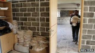 A building where patients of lbn Khaldoun psychiatric hospital were transferred to in Aleppo, February 14, 2013