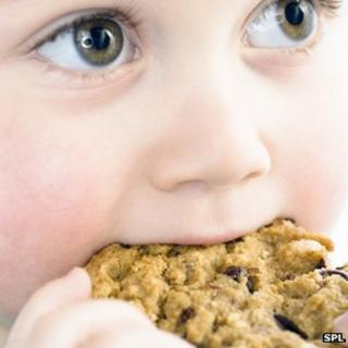 Child eating a biscuit