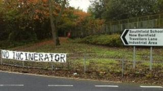 Sign near proposed incinerator site at New Barnfield