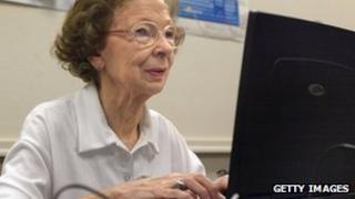 Older woman using computer