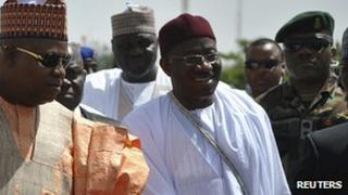 President Goodluck Jonathan arrives in Borno state. 7 March 2013